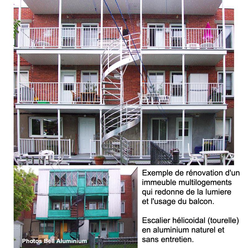 balcons escaliers aluminium logements