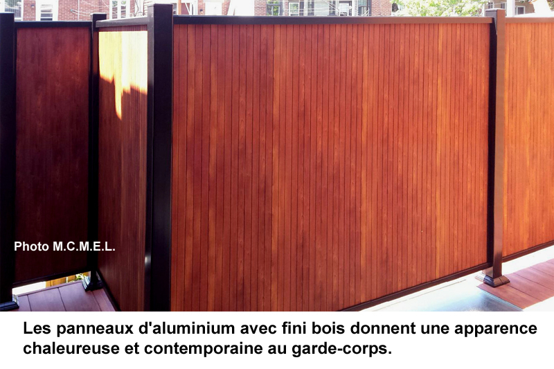 Garde-corps aluminium imitation bois