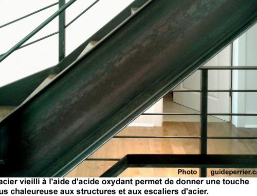 Escaliers d'acier: une patine vieillie, matte et naturelle